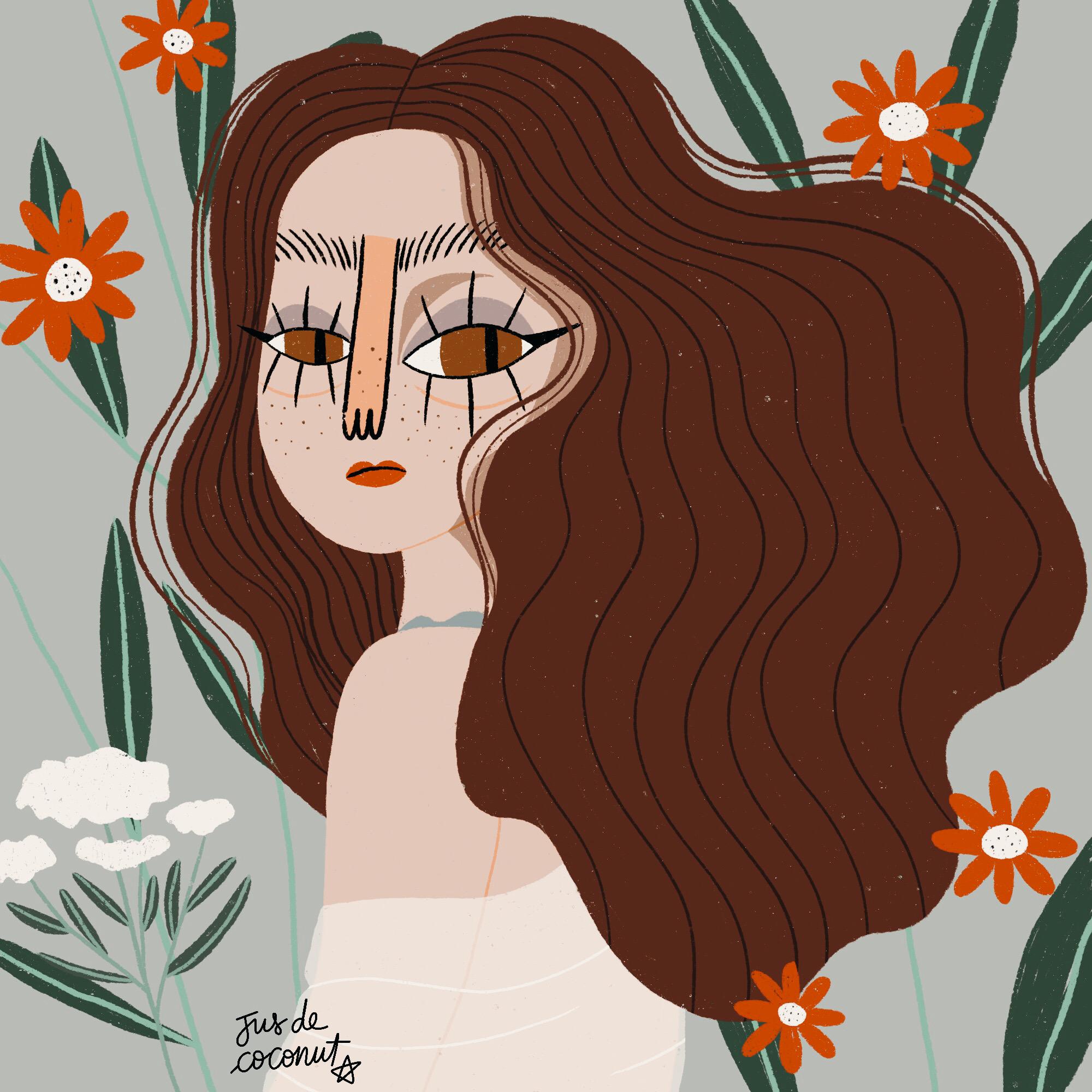 Femme avec des fleurs jusdecoconut