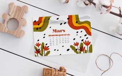 CALENDRIER À IMPRIMER – MARS 2021